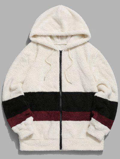 Colorblock Splicing Faux Fur Fluffy Hooded Jacket - Warm White L