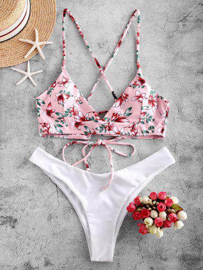 ZAFUL Flower Lace Up High Leg Bikini Swimsuit - White S
