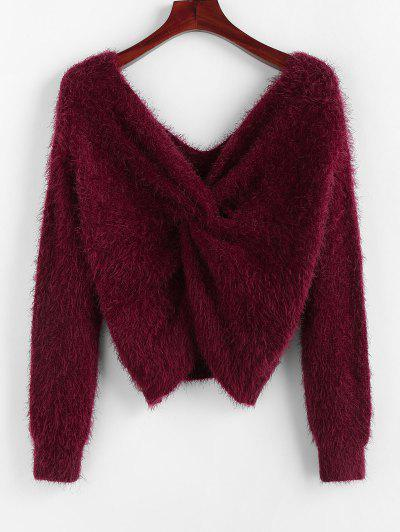ZAFUL Twisted Plunging Fuzzy Sweater - Red Wine M