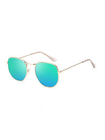 Metal Square UV Protection Sunglasses - Turquoise