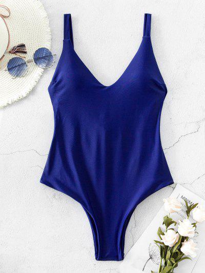 ZAFUL Back Strappy Drop Armhole One-piece Swimsuit - Denim Dark Blue M