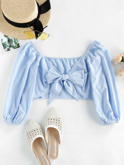 ZAFUL Knotted Front Crop Plunge Blouse - Blue Gray M