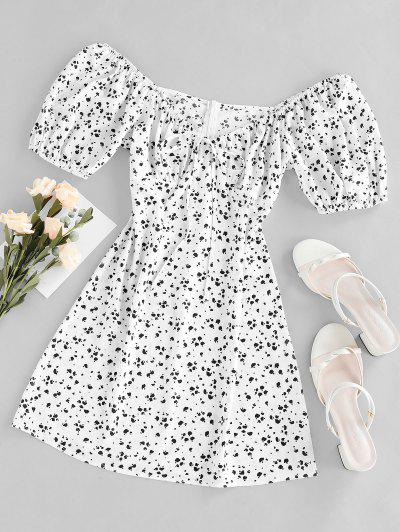 ZAFUL Cow Print Bowknot V Neck Mini Dress - Milk White S