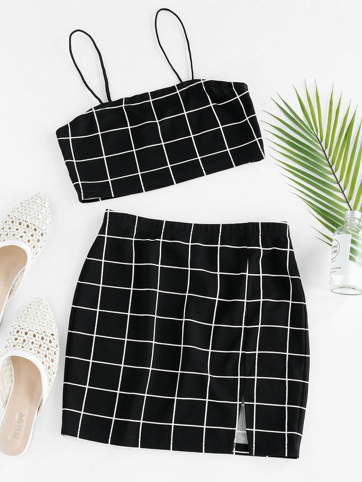 ZAFUL Grid Slit Cami Mini Skirt Set фото