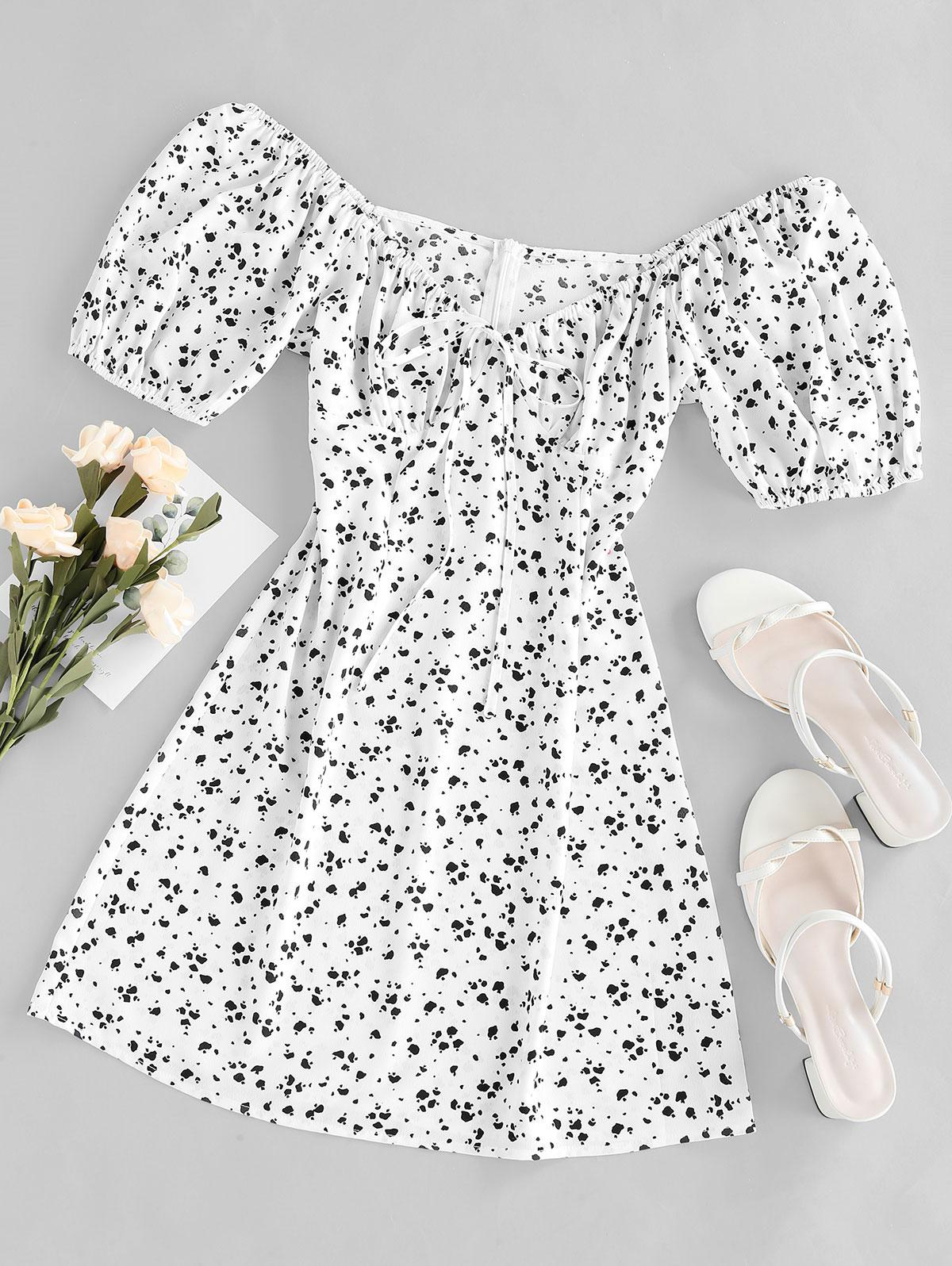 ZAFUL Cow Print Bowknot V Neck Mini Dress