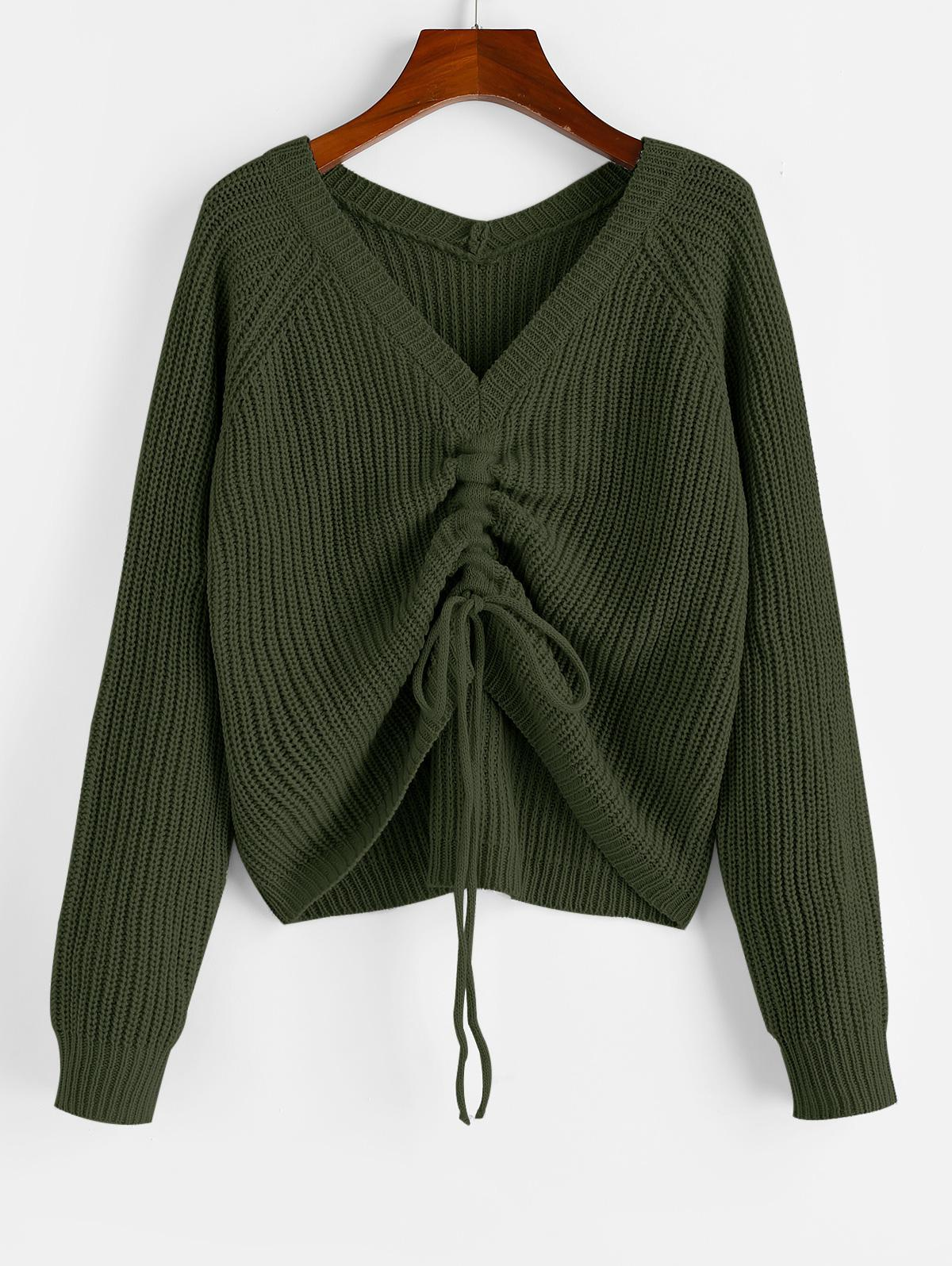 ZAFUL V Neck Shirred Ribbed High Low Sweater