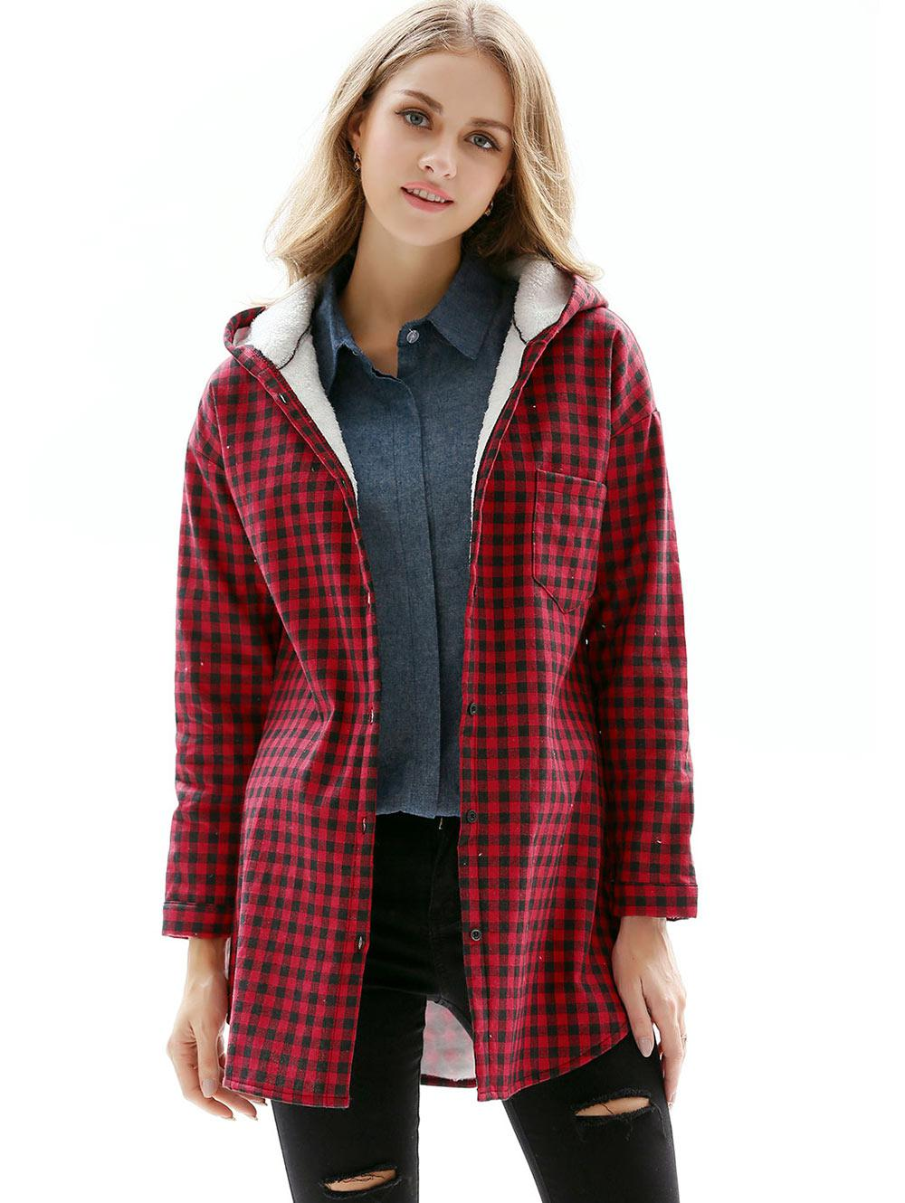 Gingham Hooded Fleece Lined Pocket Curved Coat