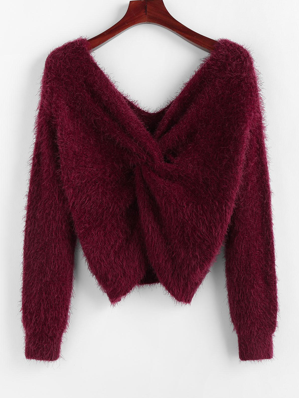 ZAFUL Twisted Plunging Fuzzy Sweater