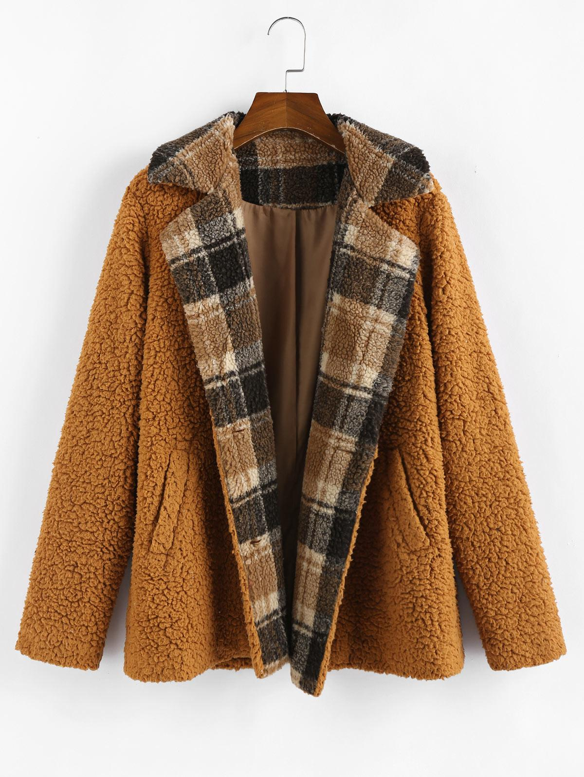 ZAFUL Plaid Faux Shearling Fluffy Pocket Teddy Coat