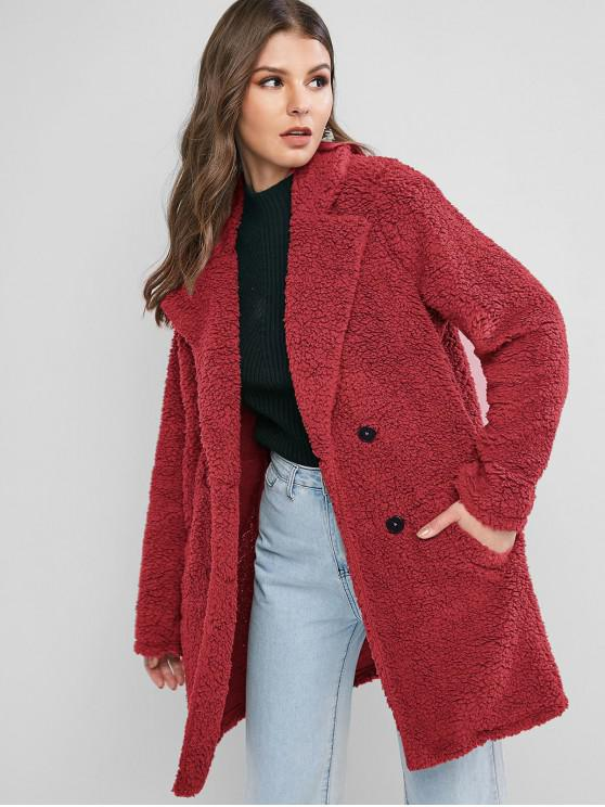 outfit ZAFUL Lapel Pocket Longline Faux Fur Coat - CHERRY RED M