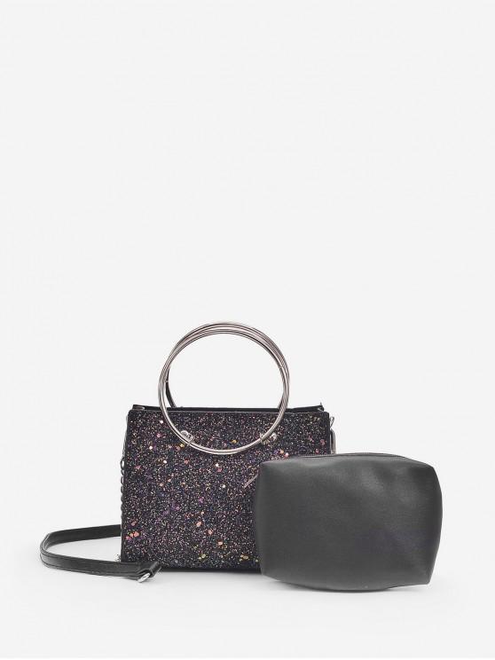 affordable 2 Piece Circle Handle Shiny Sequins Tote Bag Set - BLACK