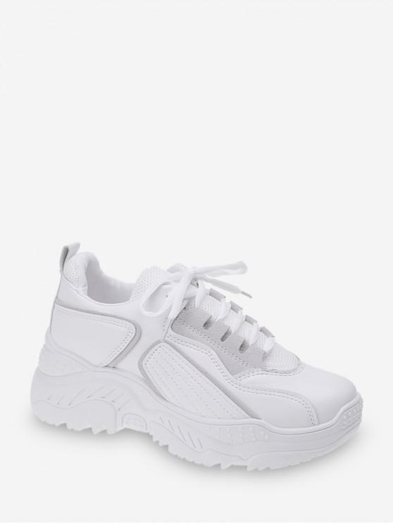 women Geometric Mesh Panel Lace Up Sneakers - WHITE EU 38