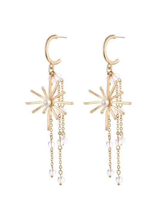 outfits Star Tassel Beads Drop Earrings - GOLD