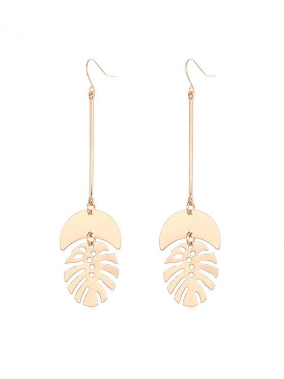 fancy Hollow Tropical Leaf Drop Earrings - GOLD