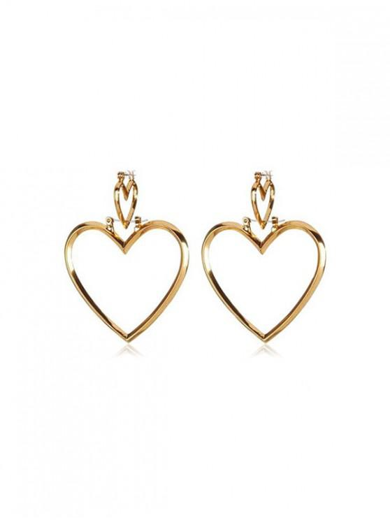 ladies Double Heart Hollow Drop Earrings - GOLD