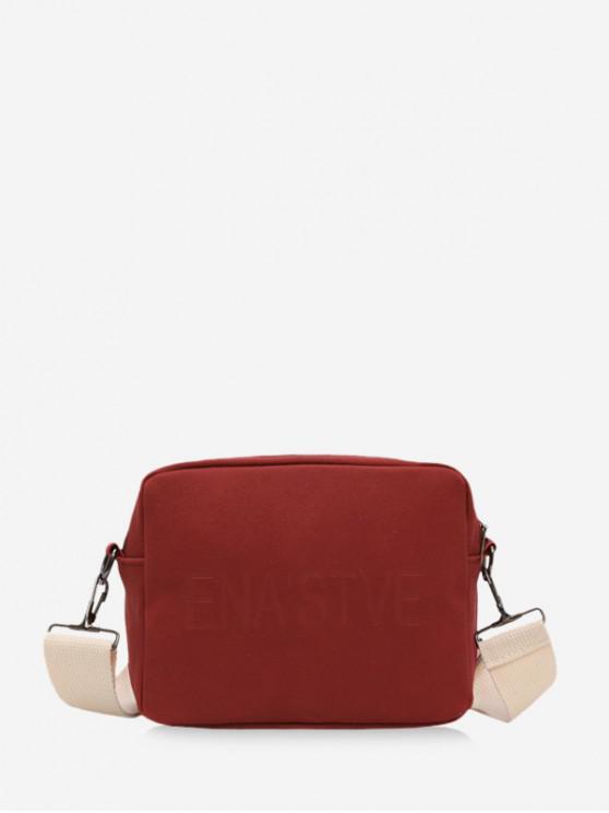 unique Wide Strap Casual Crossbody Bag - RED WINE