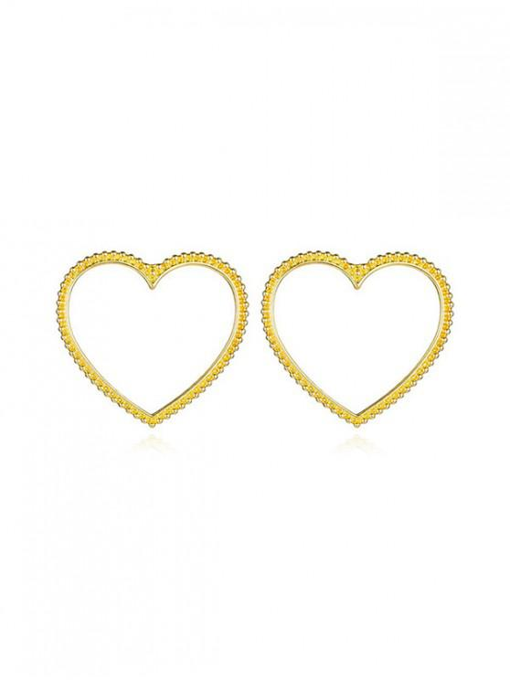 women's Carved Hollow Heart Stud Earrings - GOLD