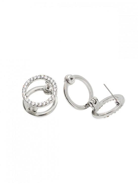 women Double Circle Rhinestone Stud Earrings - SILVER