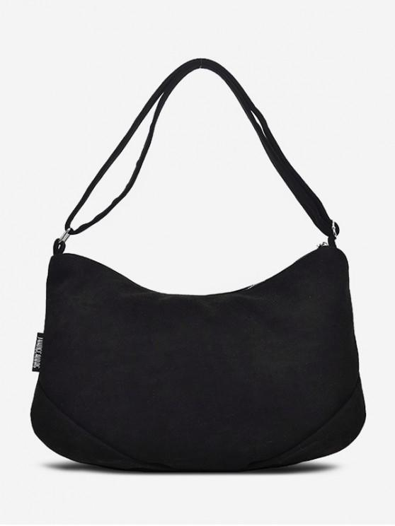 shop Canvas Simple Single Shoulder Bag - BLACK