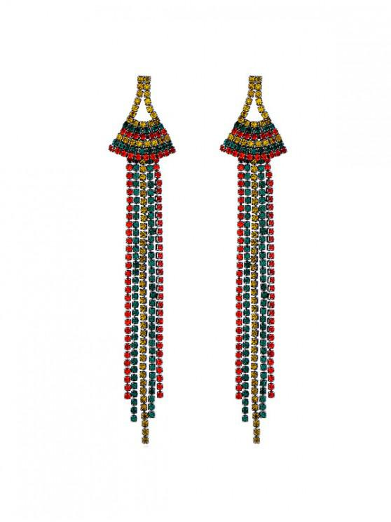 online Colored Rhinestone Tassel Dangle Earrings - MULTI
