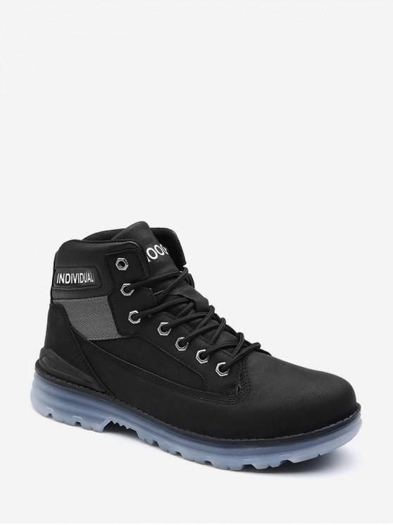 hot Individual Print Lace Up Cargo Boots - BLACK EU 44