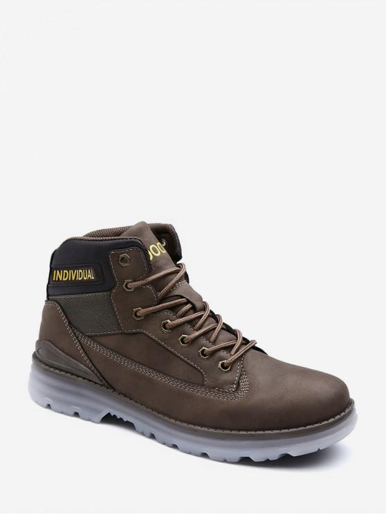 sale Individual Print Lace Up Cargo Boots - KHAKI EU 43