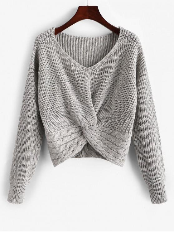 ladies ZAFUL Twist Front Cable Knit Chunky Sweater - GRAY GOOSE M