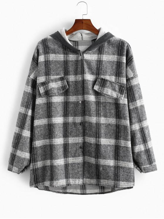 best Plaid Pattern Button Hooded Jacket - DARK GRAY XL