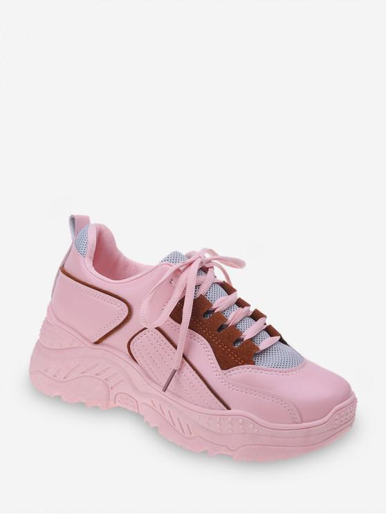 Zapatillas de Deporte de Panel de Malla Geométrica - Rosa claro EU 41