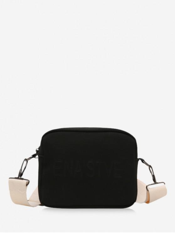 hot Wide Strap Casual Crossbody Bag - BLACK