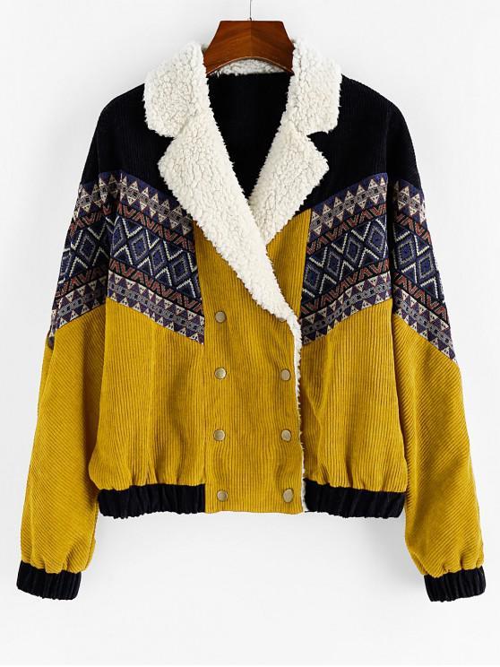 fancy ZAFUL Double Breasted Tribal Print Faux Shearling Panel Corduroy Jacket - SAFFRON M
