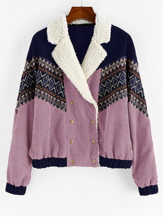 unique ZAFUL Double Breasted Tribal Print Faux Shearling Panel Corduroy Jacket - MAUVE XL