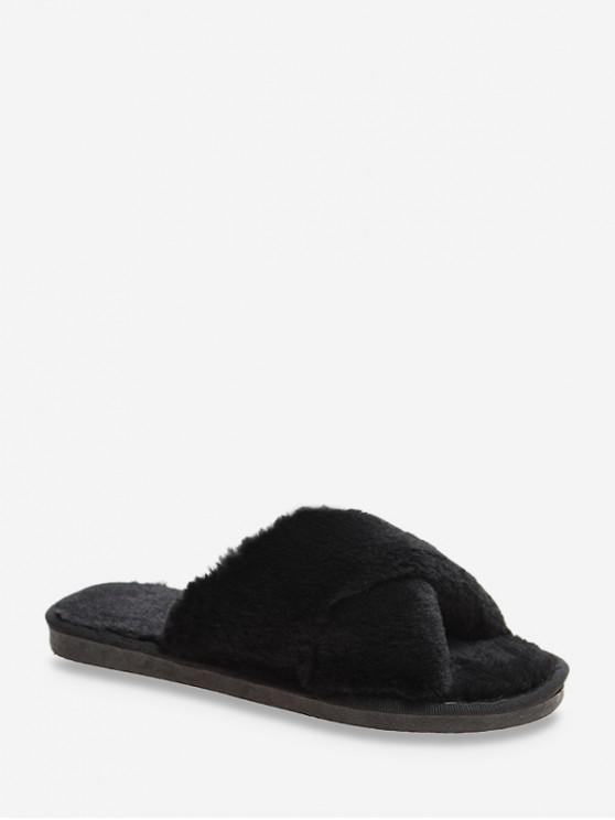 women Criss-cross Faux Fur Indoor Shoes - BLACK EU 39