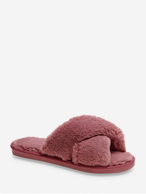 縱橫交錯人造毛皮室內鞋 - 玫瑰紅 歐盟38