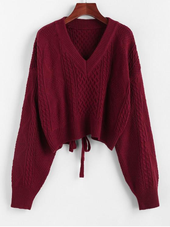 women's ZAFUL X Luna Montana Plunging Cutout Tie Back Crop Sweater - RED WINE M
