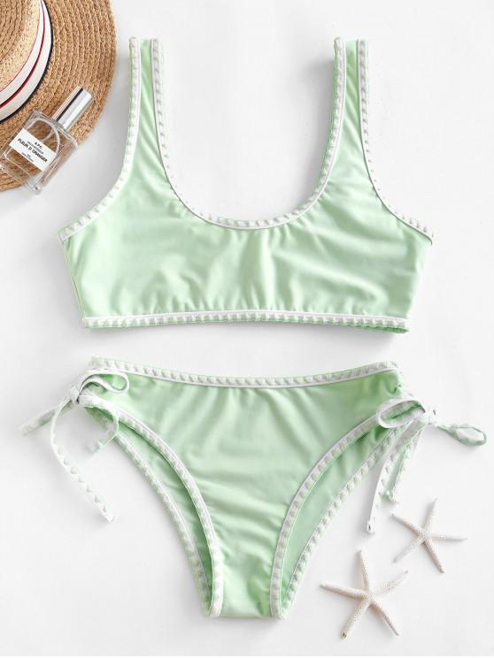 womens ZAFUL Whip Stitch Bralette Cinched Side Bikini Swimsuit - MINT GREEN M
