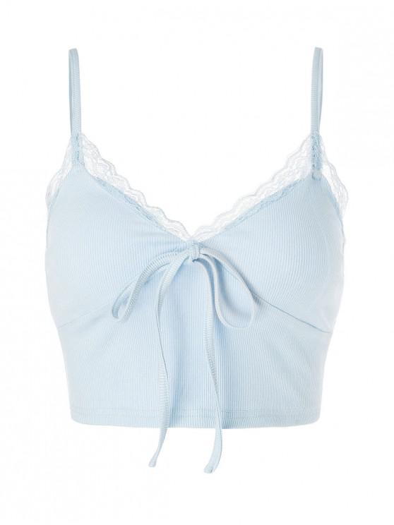 Popular Salezaful Lace Insert Bowknot Crop Camisole   Light Blue Xl by Zaful