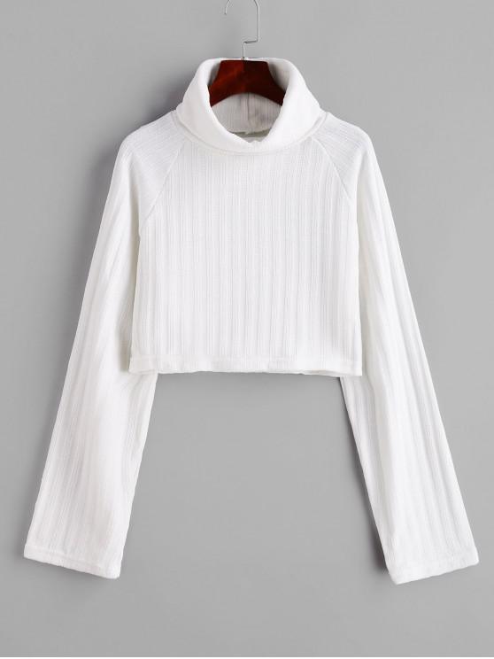 chic Chenille Turtleneck Raglan Sleeve Crop Sweater - WHITE M