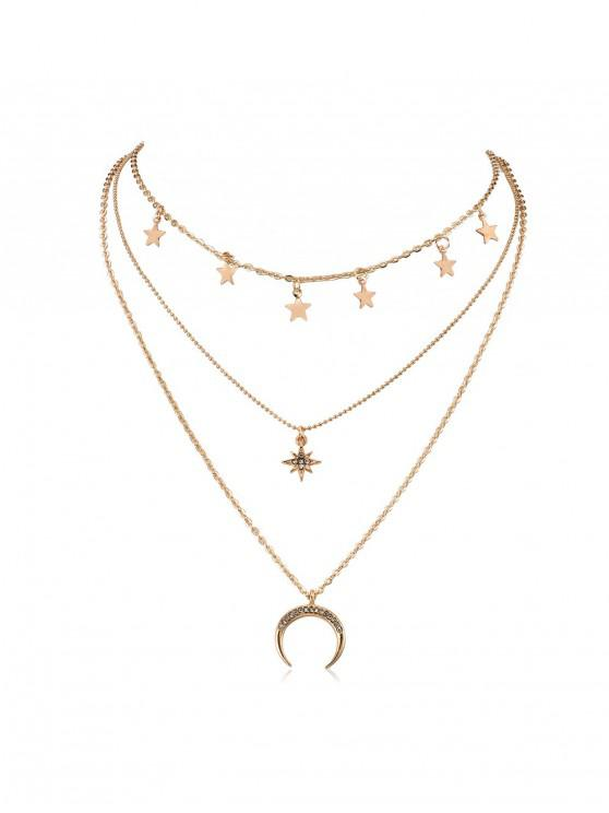 outfits Stars Moon Rhinestone Layered Necklace - GOLD