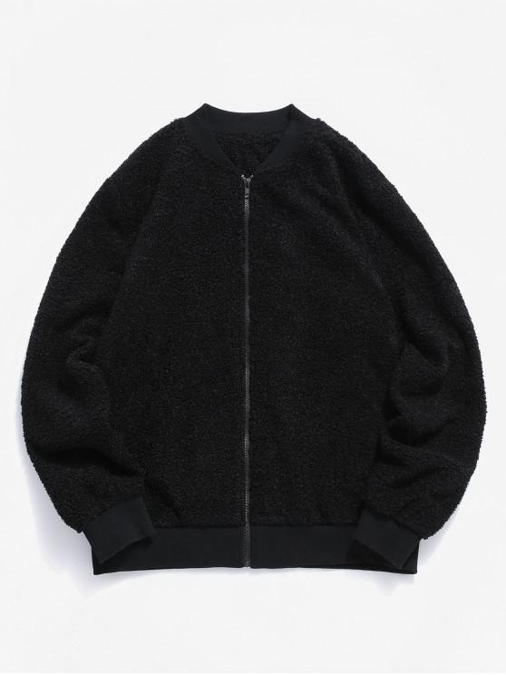 womens ZAFUL Solid Stand Collar Teddy Jacket - BLACK 2XL