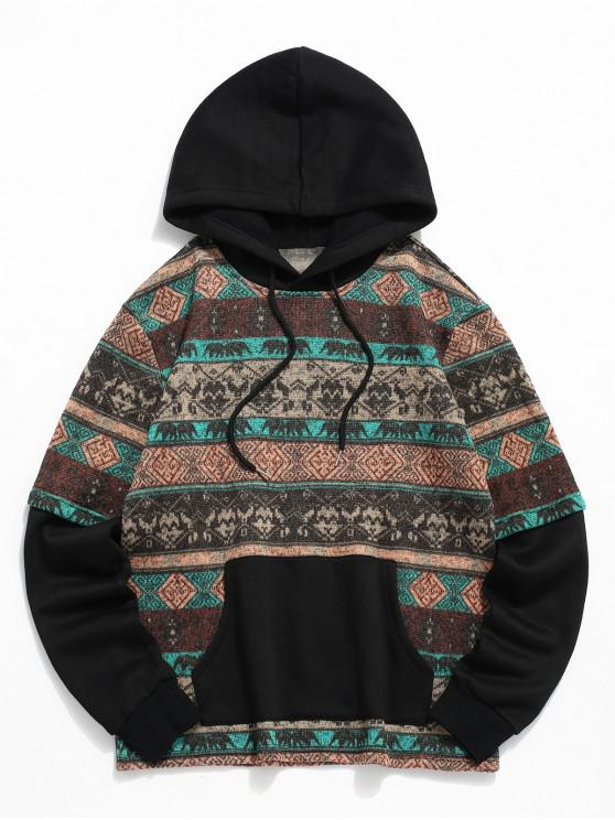 outfit ZAFUL Tribal Print Pocket Decoration Hoodie - COFFEE XL