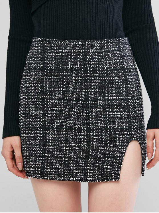ZAFUL Mini Jupe Fendue en Tweed - Noir XL