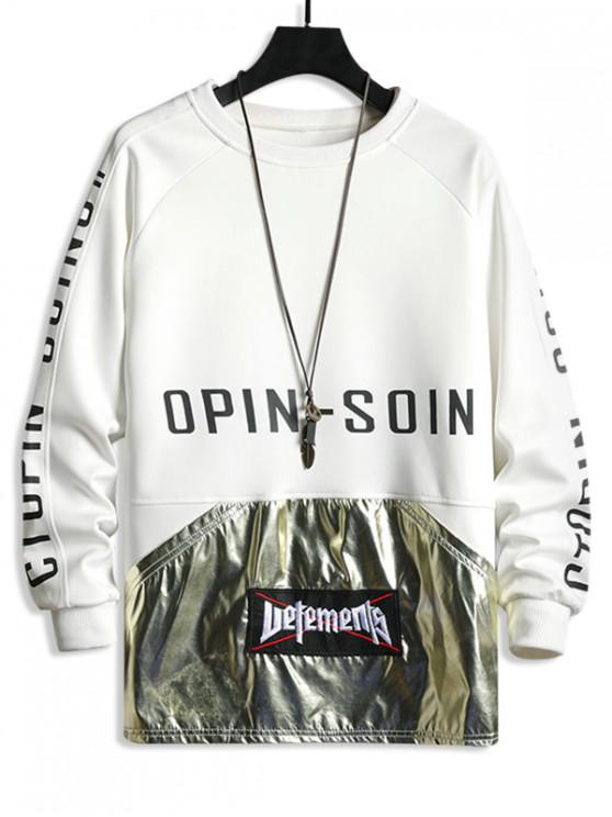 buy Letter Graphic Print Metallic Spliced Raglan Sleeve Sweatshirt - WHITE M