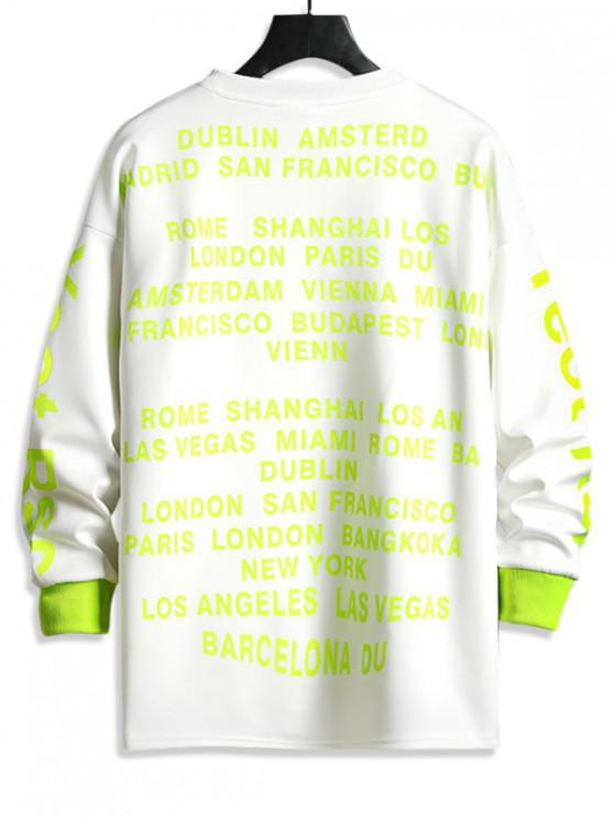 ladies Letter Graphic Print Contrast Crew Neck Sweatshirt - WHITE S