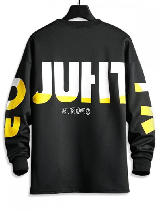 shop Contrast Letter Graphic Print Drop Shoulder Casual Sweatshirt - BLACK S