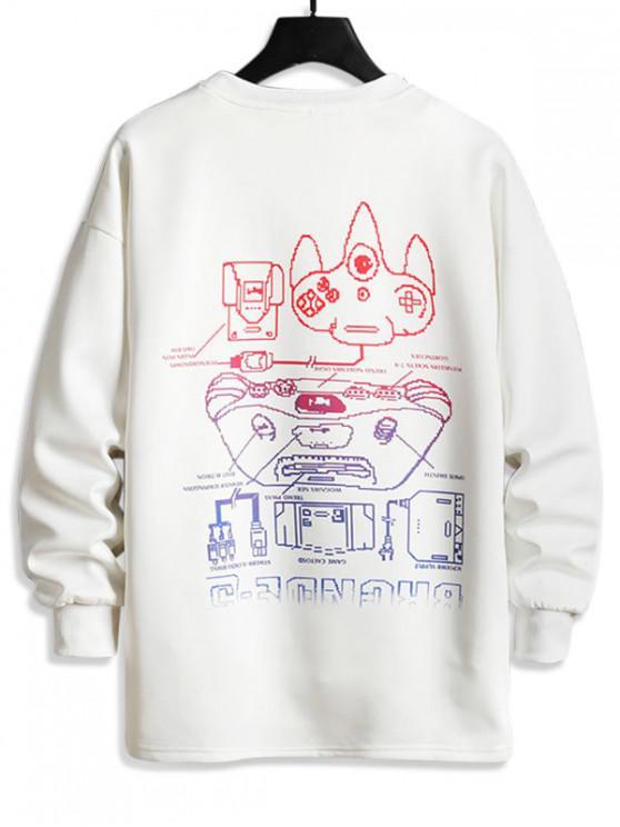 Sweat-shirt Décontracté Lettre Graphique Imprimée - Blanc XS