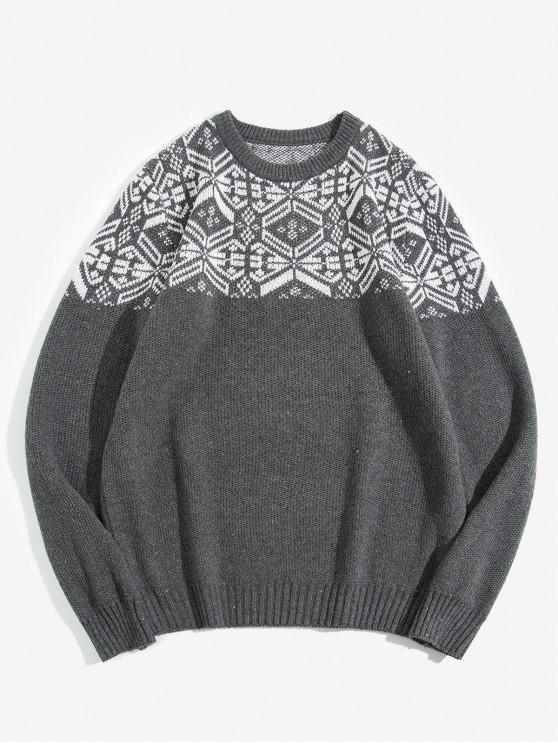 buy Geometric Pattern Round Neck Sweater - DARK GRAY M
