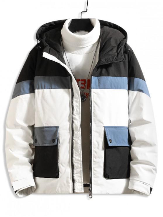 womens Color Blocking Spliced Pocket Hooded Padded Coat - WHITE S