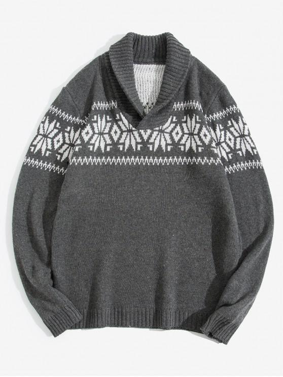 trendy Christmas Geometric Pattern Shawl Collar Sweater - GRAY S