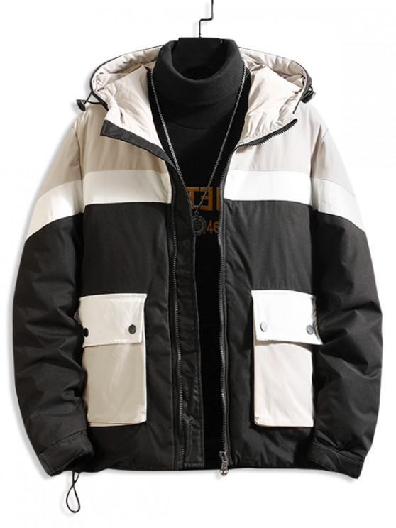 online Color Blocking Spliced Pocket Hooded Padded Coat - BLACK L